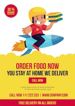 Commandez De La Nourriture Maintenant, Vous Restez à La Maison, Nous Livrons La Conception De Flyers Vecteur Premium