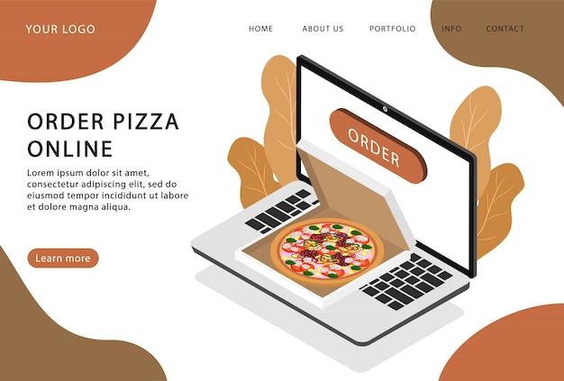 Commandez des pizzas en ligne. livraison de pizza. page de destination. pages web modernes pour sites web.