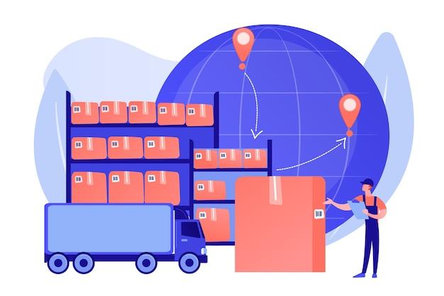 Commandez un service de livraison dans le monde entier. stockage des produits en entrepôt. entrepôt de transit, entrepôt de stockage, processus de transfert du concept de marchandises. illustration isolée de bleu corail rose