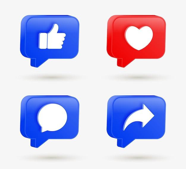 Comme les boutons de partage de commentaires d'amour dans les icônes de notification de médias sociaux 3d de bulle de dialogue