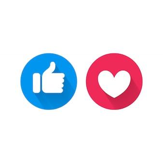 Comme et coeur icônes vectorielles réseaux sociaux