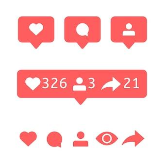 Comme, icône de commentaire. l'utilisateur affiche les bulles, le suiveur et le signe de repostage. icônes de médias sociaux. notification de vecteur. message de discours de bulle. avis d'interface plate pour l'application de téléphonie mobile.