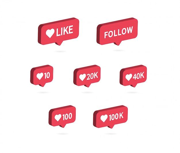 Comme icône. icône de notification de médias sociaux.