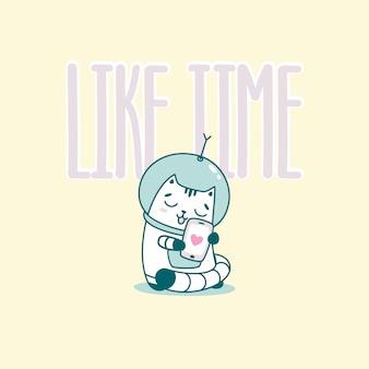 Comme le lettrage du temps avec un chat astronaute drôle