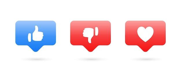 Comme n'aime pas les boutons d'amour dans les icônes de notification des médias sociaux de la bulle de dialogue moderne