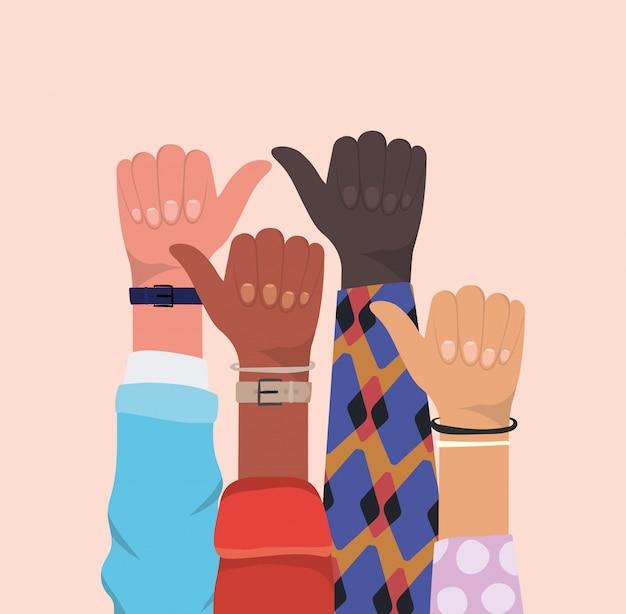 Comme signe avec les mains de différents types de conception de peaux, la diversité des gens de race multiethnique et le thème de la communauté