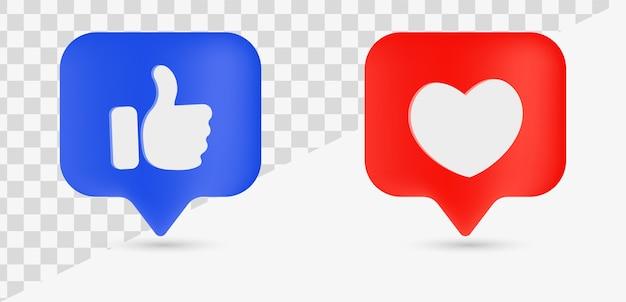 Comme le symbole du pouce de notification de bulle de discours avec le coeur pour le réseau social