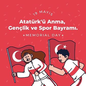 Commémoration dessinée à la main de l'ataturk, de la jeunesse et de l'illustration de la journée des sports