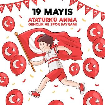 Commémoration dessinée à la main de l'illustration de la journée d'ataturk, de la jeunesse et des sports