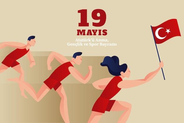Commémoration plat organique de l'illustration de la journée atatürk, jeunesse et sport