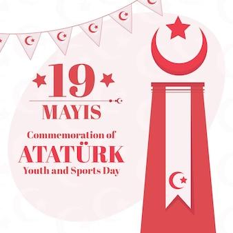 Commémoration plate de l'ataturk, de la jeunesse et de l'illustration de la journée des sports