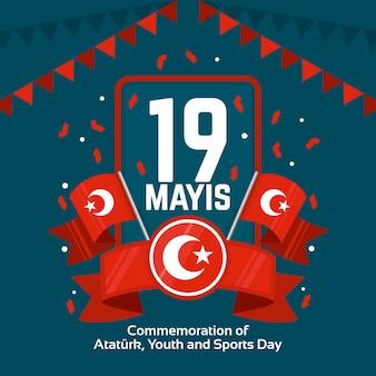 Commémoration plate de l'ataturk, de la jeunesse et de la journée sportive