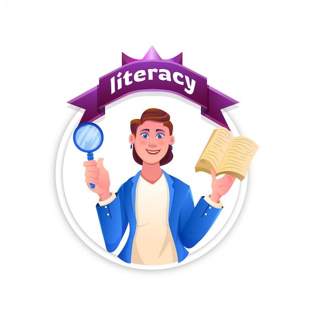 Commémorer la journée internationale de l'alphabétisation, avec une femme debout lisant un livre