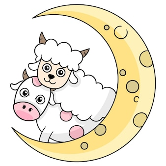Commémorer le mois de l'aïd al adha, art de l'illustration vectorielle. doodle icône image kawaii.