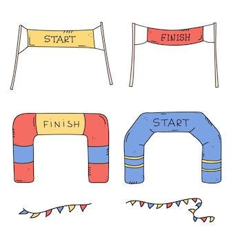 Commencez et terminez les bannières ou les drapeaux pour les événements sportifs en plein air. illustration vectorielle de compétition course