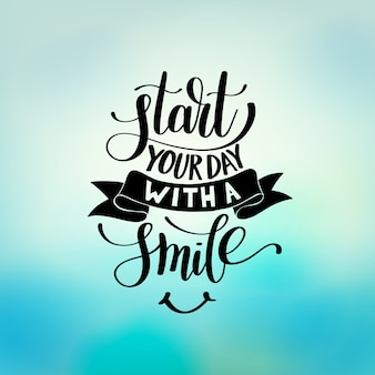 Commencez votre journée avec une illustration de phrase de texte de sourire