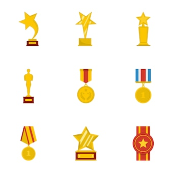 Commend icons set, style cartoon