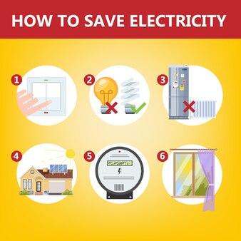 Comment économiser le concept d'instruction d'électricité. économie d'énergie et soins écologiques. éteignez les lumières et utilisez un panneau solaire. illustration vectorielle en style cartoon
