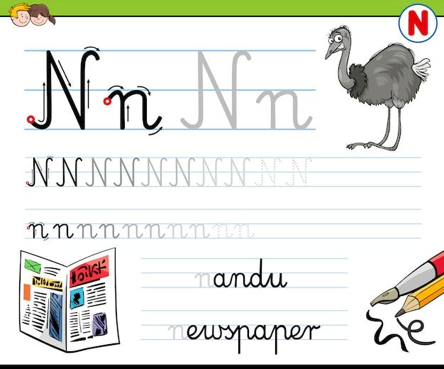 Comment écrire le classeur de la lettre n pour les enfants