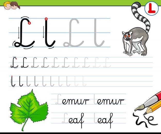 Comment écrire le classeur lettre l pour les enfants