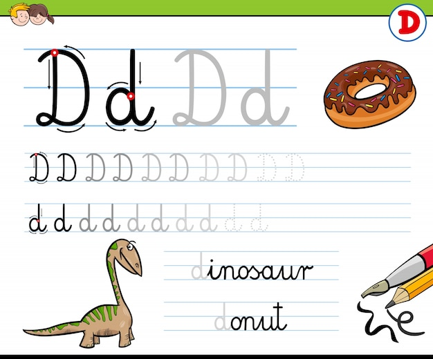 Comment écrire la lettre d feuille de travail pour les enfants