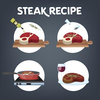Comment Faire Cuire La Recette De Steak. Viande Maison Vecteur Premium