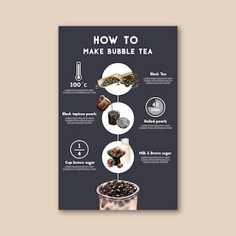 Comment faire du thé au lait aux bulles fait maison, contenu de l'annonce moderne, illustration à l'aquarelle