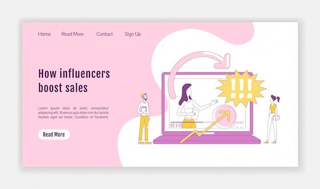 Comment les influenceurs stimulent le modèle de vecteur de silhouette plate de page de destination des ventes. présentation de la page d'accueil du marketing d'affiliation. interface de site web de vlogging d'une page avec un personnage de dessin animé. page de destination