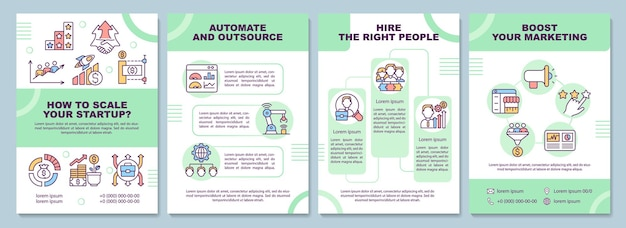 Comment mettre à l'échelle le modèle de brochure de démarrage. automatisez et externalisez. flyer, brochure, dépliant imprimé, conception de la couverture avec des icônes linéaires. dispositions vectorielles pour la présentation, les rapports annuels, les pages de publicité