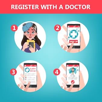 Comment obtenir une consultation avec un médecin en utilisant les instructions du téléphone portable.