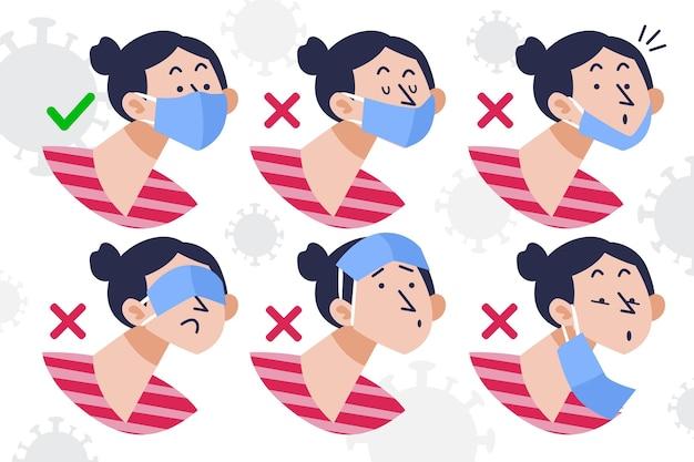 Comment porter un masque facial bien et mal