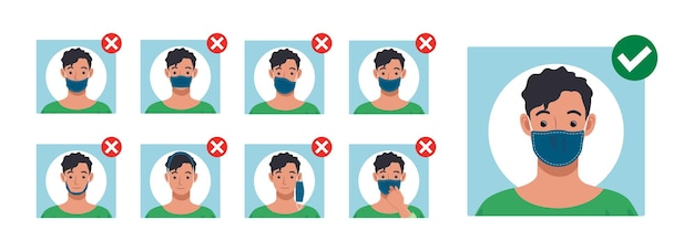 Comment porter un masque facial correctement et correctement comment porter un masque en toute sécurité et confortablement vecteur