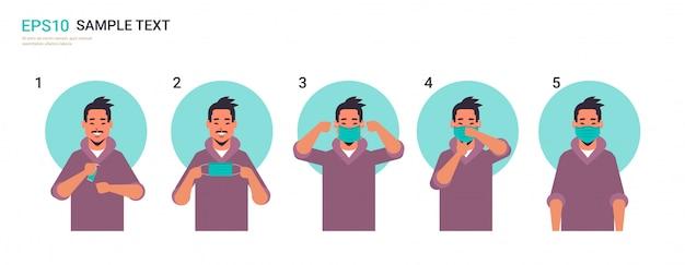 Comment Porter Le Masque Médical Covid-19 Protection étape Par étape Méthode Correcte De Porter Un Masque Vecteur Premium