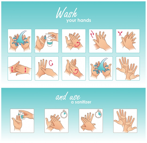 Comment se laver les mains et utiliser un désinfectant. nettoyage et désinfection des mains. instruction médicale. illustration