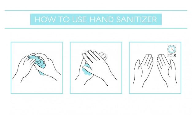 Comment utiliser correctement un désinfectant pour les mains pour nettoyer et désinfecter les mains, infographie médicale