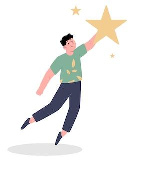 Commentaires des clients avec l'homme donnant une étoile
