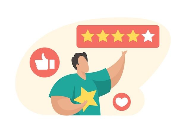 Commentaires des clients. le personnage de dessin animé masculin donne des commentaires cinq étoiles