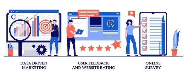 Commentaires des utilisateurs et évaluation du site web, concept de sondage en ligne avec illustration de petites personnes