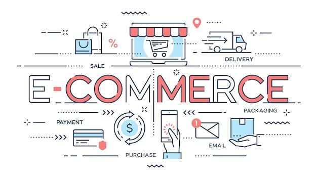 Commerce électronique, achats en ligne, vente au détail, vente, service de livraison