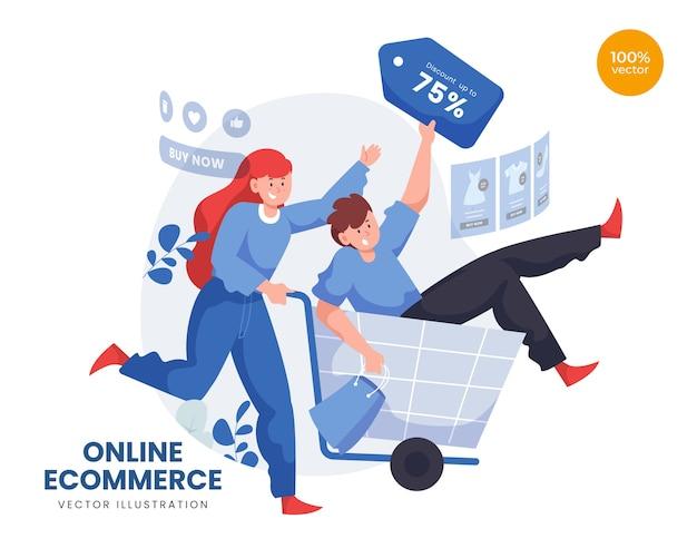 Commerce électronique en ligne avec femme et homme achetant des produits à prix réduit