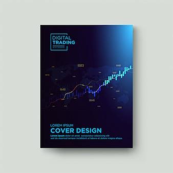 Commerce de fond de couverture. avec une illustration graphique d'une bougie bleu clair s'élevant vers le haut.