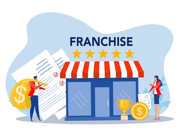 Commerce de franchisepeople shopping and start franchise small enterprise