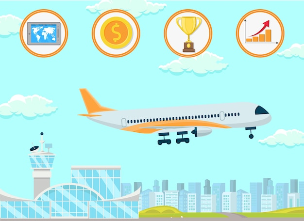 Commerce international. illustration de plat vector.