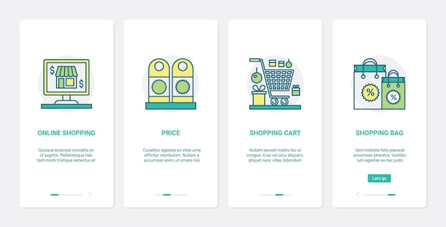 Commerce en ligne, technologie de boutique internet. ux, application mobile d'intégration de l'interface utilisateur, ensemble de sac à provisions et panier de supermarché ou d'épicerie, symboles de commerce électronique de prix