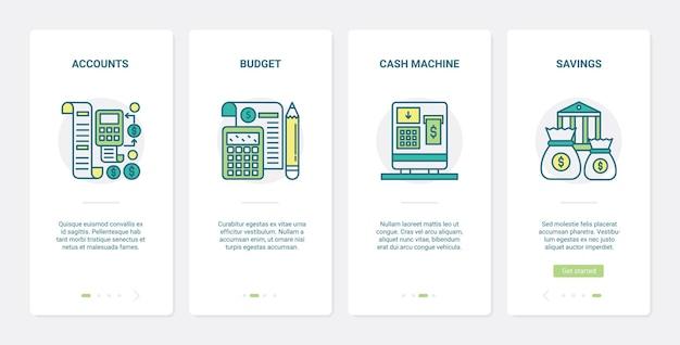 Commerce en ligne, technologie de paiement bancaire ux onboarding mobile app page screen set