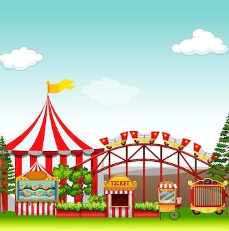 Commerces et manèges au parc d'attractions