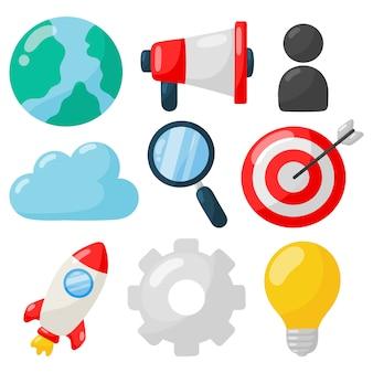 Commercialisation. icônes de référencement sur blanc