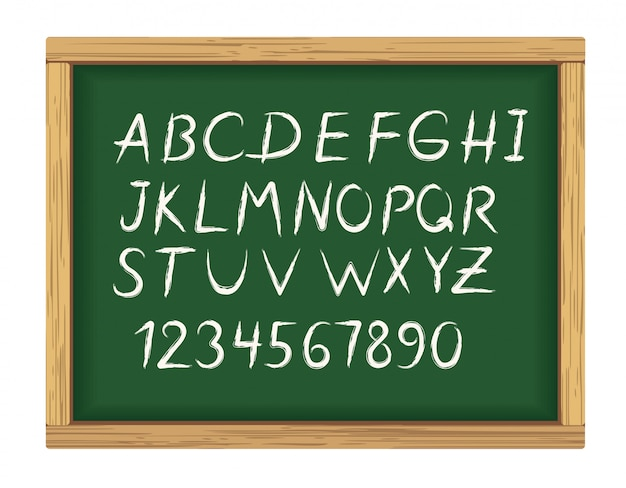 Commission scolaire avec des lettres de l'alphabet de craie