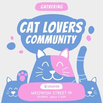 Communauté des amoureux des chats se réunissant invitation annuelle à l'événement
