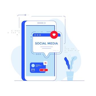 Communauté internet de médias sociaux avec une application mobile de réseaux sociaux pour smartphone et fenêtre vocale